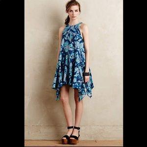 Anthropologie Eva Franco blue floral asym dress